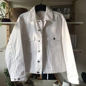 Oversized denim jacket with shoe lace detail